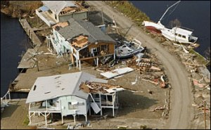 Christian Pass, Mississippi in the aftermath of Hurricane Katrina.  (Andrea Booher / FEMA)