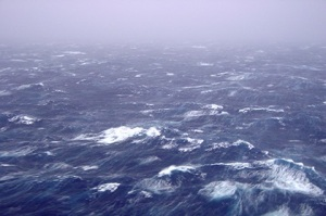 Wind and waves in the Southern Ocean launch sea spray far into the atmosphere. (Photos: NOAA/ersl)